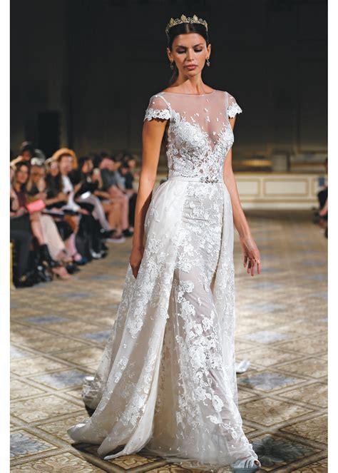 berta short sleeve illusion neckline wedding gown ny nj