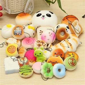 30PCS Random Squishy Soft Panda/Bread/Cake/Buns Phone