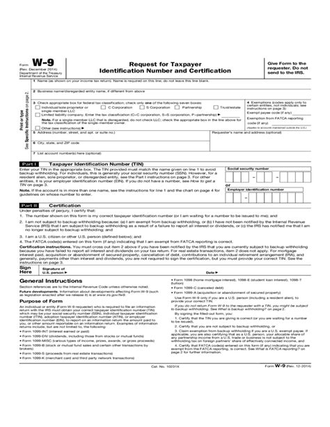 Form W9  Request For Taxpayer Identification Number And