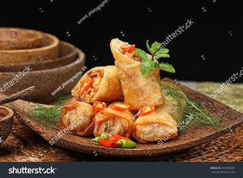 indonesian rolls indonesian cuisine lumpia semarang stock