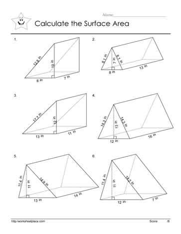 free math worksheets volume surface area surface area of