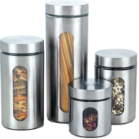 contemporary kitchen canister sets cook n home stainless canisters with windows set of 4