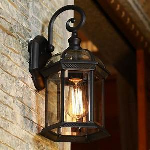 Europe, Led, Porch, Lights, Outdoor, Wall, Lamp, Black, Housing, Clear, Glass, Shade, Outdoor, Wall, Light