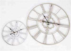 Wanduhr Vintage Weiß : wanduhr metall im landhausstil uhr wei beige vintage 40 cm ~ Indierocktalk.com Haus und Dekorationen