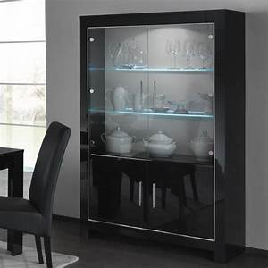 Lorenz Wide Glass Display Cabinet In Black High Gloss With