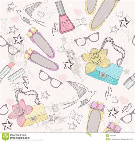 Cute Fashion Seamless Pattern For Girls Stock Vector ...