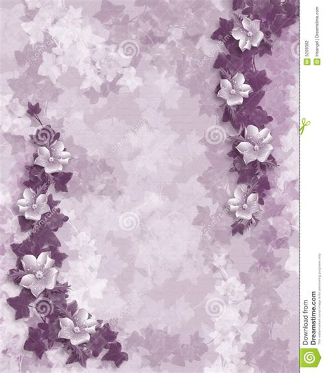 wedding invitation purple floral template stock