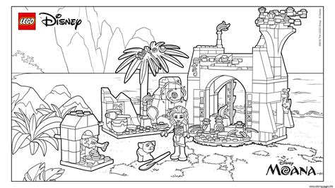 lego disney moana island coloring pages printable