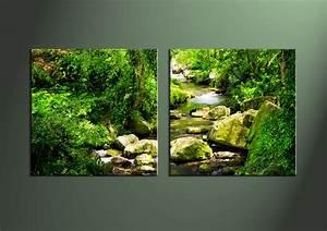 2 Piece Green Nature Ocean Wall Art