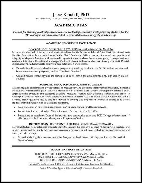 academic resume sample shows     academic