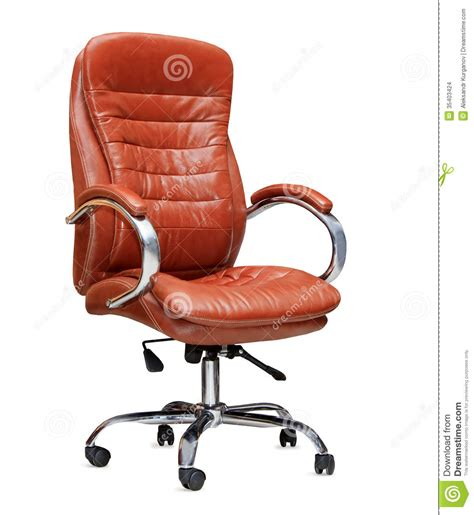 the office chair from orange leather isolated stock