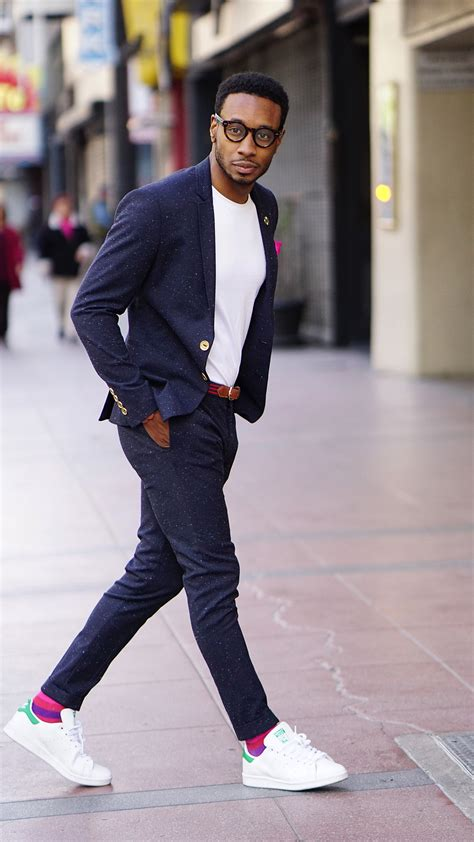ootd tweed suit white tee stan smith adidas norris danta ford
