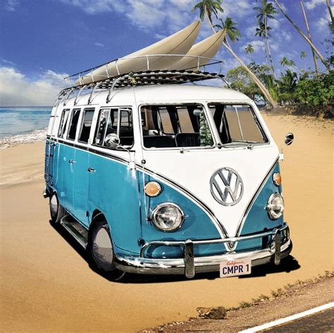volkswagen van beach vw cer van stretched canvas wall art poster print beach