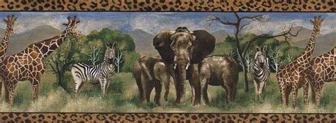zebra elephant giraffe wallpaper border ffb ebay