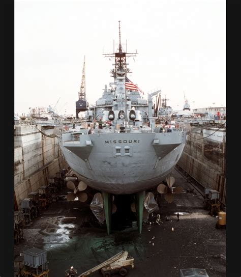 Battleship Uss Missouri In Drydock