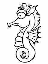 Seahorse Coloring Pages Template Horse Sea Templates Animal Analyzer sketch template