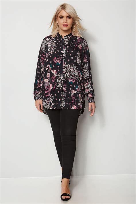 Bluzka Koszulowa W Fioletowe Kwiatki, Duże Rozmiary 4464