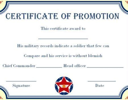 army enlisted promotion certificate template promotion