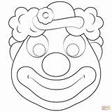 Clown Mask Coloring Pages Printable Masks Templates Circus Drawing Paper sketch template