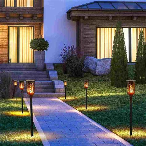Lawn Patio by Outdoor Waterproof Flickering Flames Solar Torch Lights