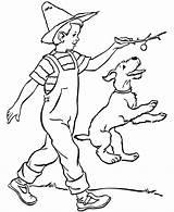 Coloring Dog Boy Farm Farmer Printable Boys Sheet Colouring Playing Jobs Sheets Dogs His Doggie Superhero Draw Drawing Cachorrinho Fiel sketch template