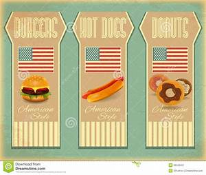 Retro Fast Food Labels stock illustration. Image of burger ...