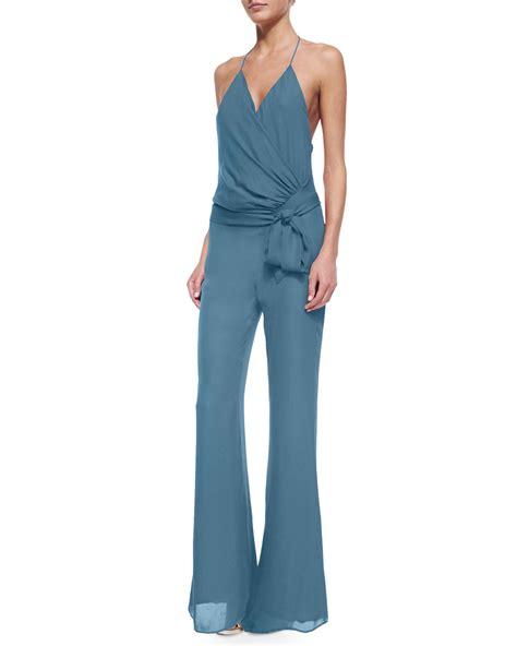 halter jumpsuits haute hippie halter draped front jumpsuit in blue lyst