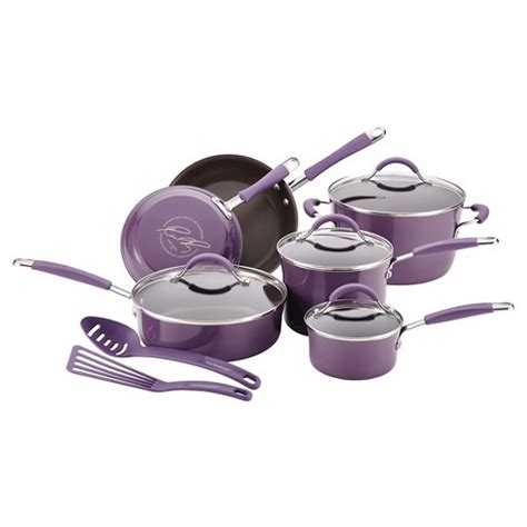 rachael ray cookware purple piece cucina enamel nonstick hard rachel target pots pans porcelain aluminum sets kitchen trade bedbathandbeyond description