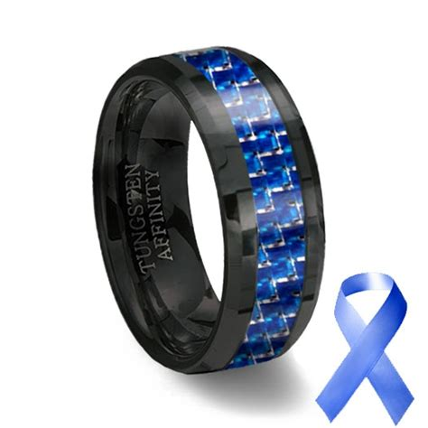 black ceramic blue carbon fiber ring blue wedding band