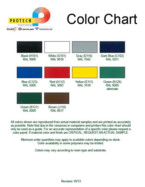 protech oxyplast powder coatings stock items color chart