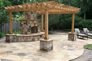 Patio and Pergola with Stone Columns