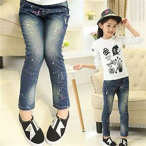 Girls jeans 2015 New Popular Pouring Paint Elastic Waist Children Jeans For Girl Kids Ripped ...