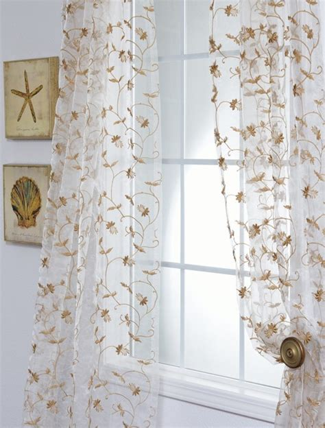 fiona floral white embroidered organza sheer curtain