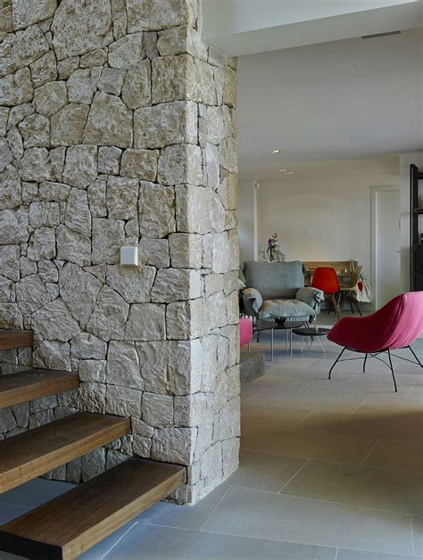 modern interior home wood stairs wall modern house in ibiza spain