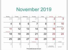 November 2019 Calendar Printable with Holidays PDF and JPG