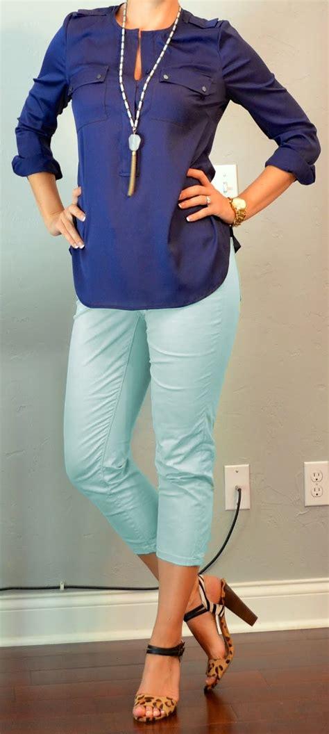 Outfit post navy blouse mint cropped jeas leopard u0026 zebra heels   Outfit Posts Dynamic