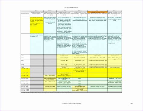 excel itinerary 12 travel schedule template excel exceltemplates exceltemplates