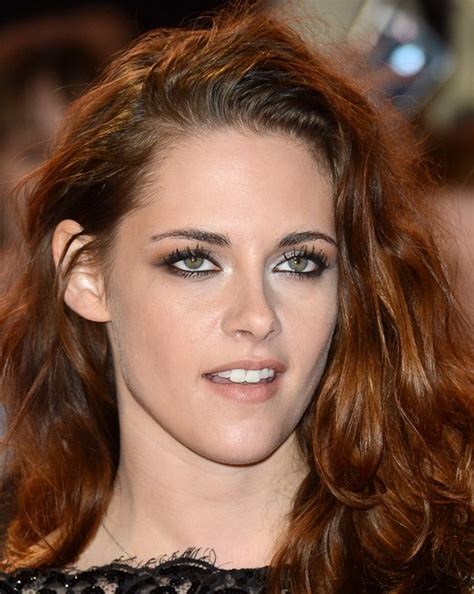 long copper colored hairstyle  thick hair kristen