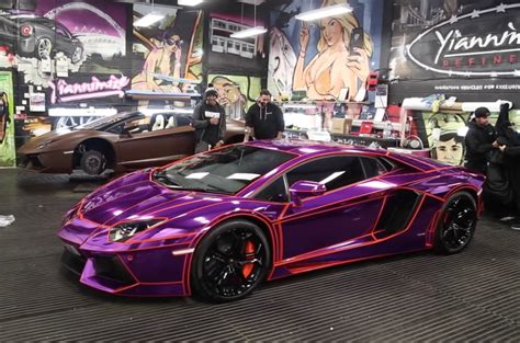 ksis purple chrome wrapped lamborghini racemebro
