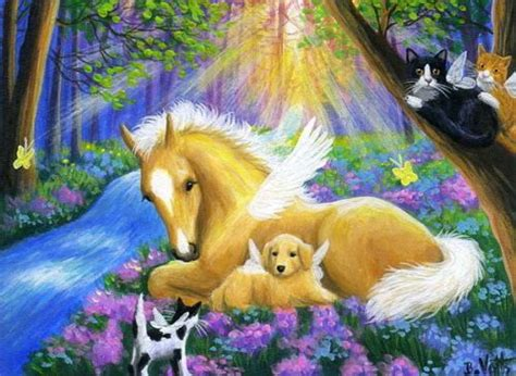 foal horse puppy dog kittens cats angels forest fantasy