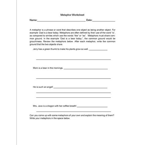 metaphor and simile worksheets for middle school 19 best images of metaphor worksheet high school simile