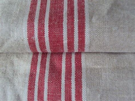 Vintage French Linen Hemp Flax Mangle Cloth 5 Red White
