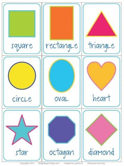 shape flashcards   printable delighting