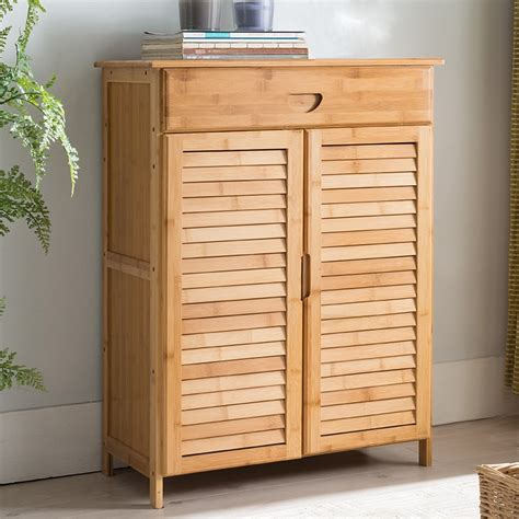 contemporary shoe cabinet   doors drawers bamboo