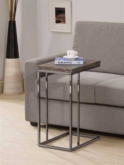 Inexpensive Sofa Tables by Coaster 902864 Weathered Gray Folding Expandable Snack
