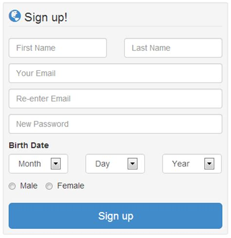 bootstrap sign up page design jquery 2 dotnet
