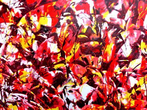 Modernes Acrylgemälde Abstrakt Rot Gelb Weiß Auf Leinwand