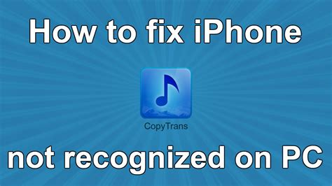 How To Fix Iphone Not Detected Or Recognized On Pc  Youtube