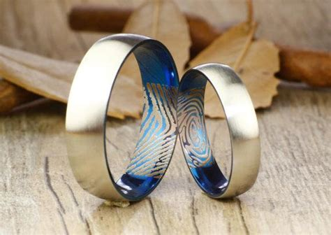 Your Actual Finger Print Rings Set, Handmade Blue Matte