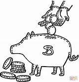 Coloring Penny Bank Piggy Pages Printable Into Pig Clip Deposit sketch template
